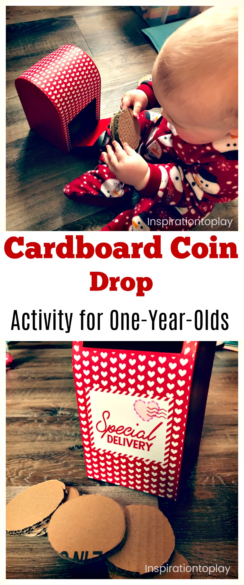 Cardboard coin drop activity for one year olds