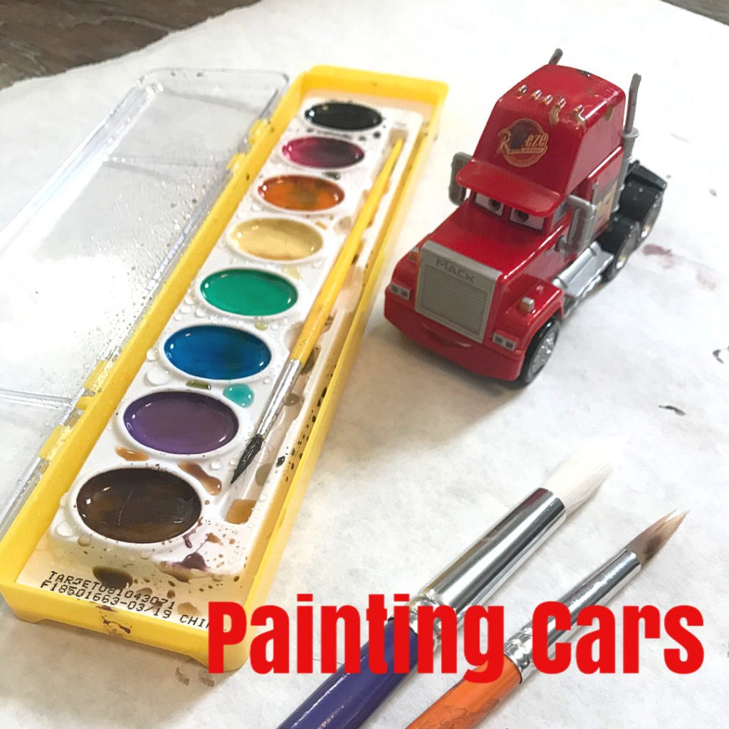 Painting cars toddler activity