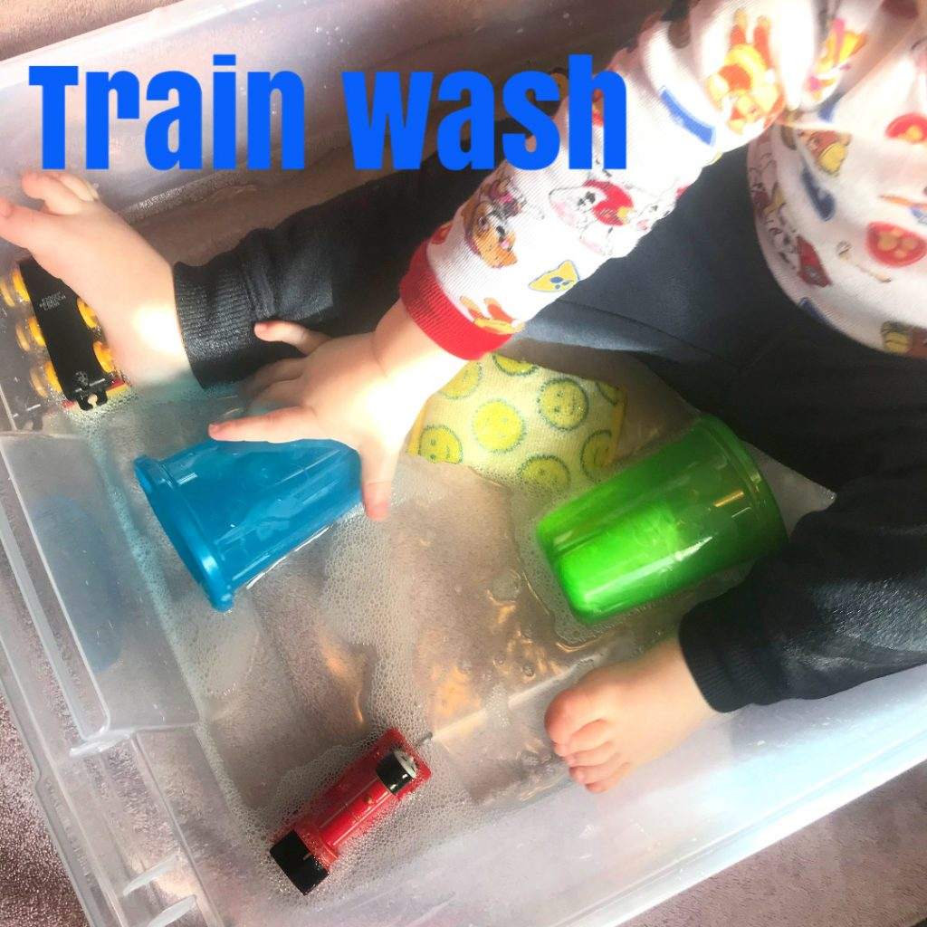 Train wash sensory bin